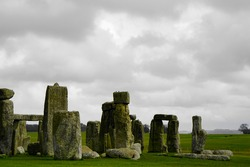 Stonehenge and countryside on a dreary day