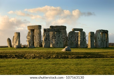 Stonehenge near Amesbury, Wiltshire, England, in the late afternoon on a cold Winter's day
