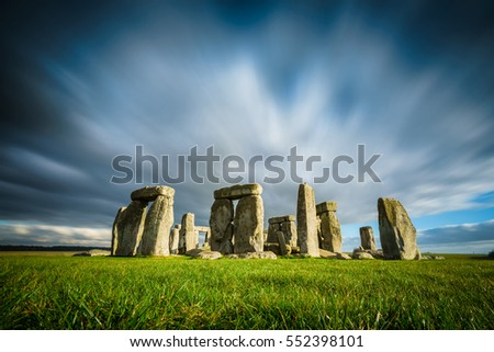 Stonehenge on a sunny and windy winter day.