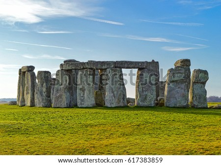 Stonehenge prehistoric monument in Wiltshire, England. Early morning view of Stonehenge monument