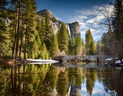 Stoneman bridge in morning light at Yosemite National Park