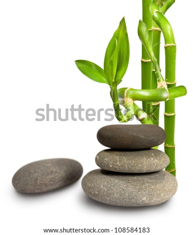 stones and bamboo on white background