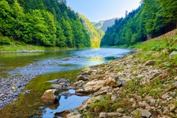 Stones and rocks in The Dunajec River Gorge. Carpathian Mountains, Poland.