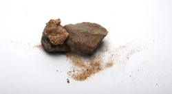 stones and sand on white background, isolated objects