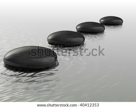 Stones arranged in a row on the water - 3d render