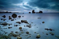 Stones at the seashore at night