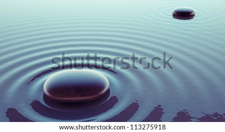 stones in a water - illustration concept