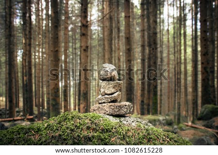 stones in equilibrium, pile of rocks in the woods