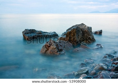 Stones in sea water (long exposure)