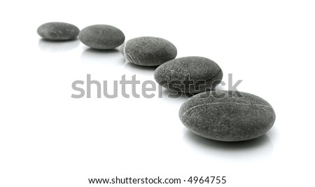 stones in the line on white background