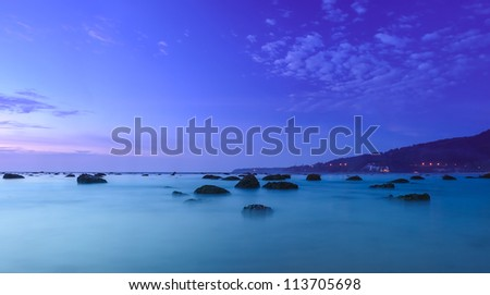 Stones in water. Panoramic sea cost landscape