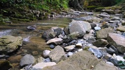 Stones. Mountain stream. The rocky shore. Water flows over rocks. Large rocks rocks lie along the stream Mountain stream Stones