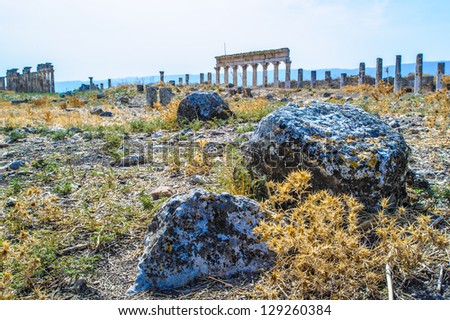 Stones of the ruins of Apamea, in Syria