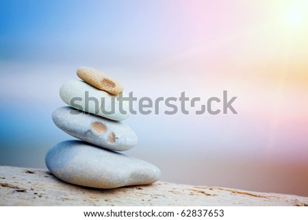 stones on the beach zen-like but authentic, natural beach stones