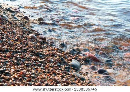 stones on the seashore, rocky seashore #1338336746