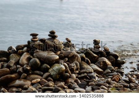stones on the seashore, rocky seashore #1402535888