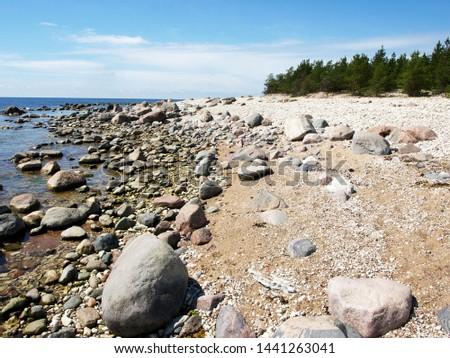 stones on the seashore, rocky seashore #1441263041