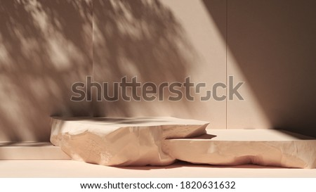 Stones Podium for packaging presentation and cosmetic, natural sunshade shadow on  wall.  Product display with warm plaster texture. realistic rendering. 3d illustration