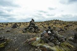 Stones pyramid background. Icelandic landscape.