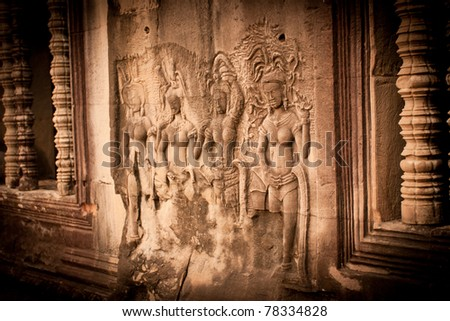 Stones sculpture in the temple, Angkor Wat, Cambodia