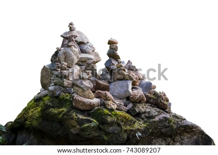 Stones stacked with isolated white background this has clipping path.