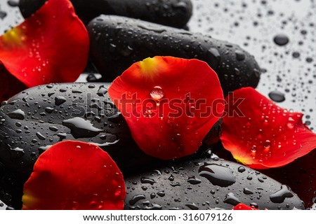 Stock Photo Stones with rose petals and drops of water on black background