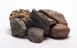 stones with sand on white background/stones to sand/isolated objects