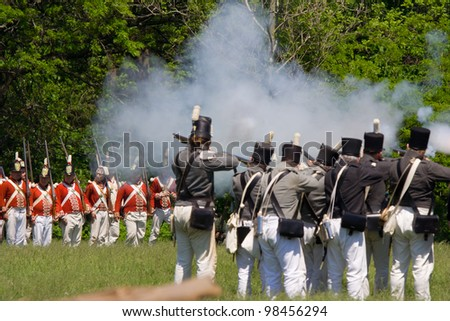 STONEY CREEK, ONTARIO, CANADA - JUNE 6 : Battle scene during a War of 1812 re-enactment at Stoney Creek Ontario Canada, June 6, 2011