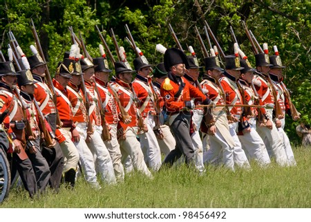 STONEY CREEK, ONTARIO, CANADA - JUNE 6 : British/Canadian infantry marching into battle during a War of 1812 re-enactment at Stoney Creek Ontario Canada, June 6, 2011