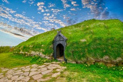Stong Commonwealth Farm in Thjodveldisbaer, South Iceland. A replica of a Viking turf longhouse that was destroyed by a volcanic eruption in 1104.