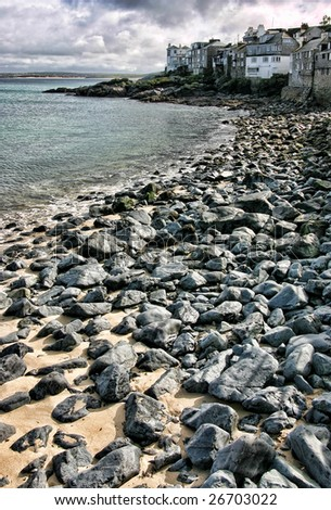Stony beach at St. Ives, Cornwall, England
