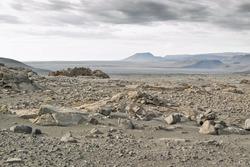 Stony desert near glacial area in Iceland