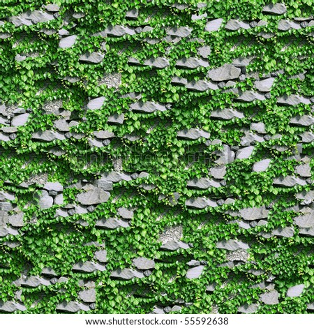 Stony  fence with green foliage background.(Seamless  pattern for continuous replicate).