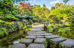 Stony foot path in Japanese Garden, Golden Gate Park, San Francisco