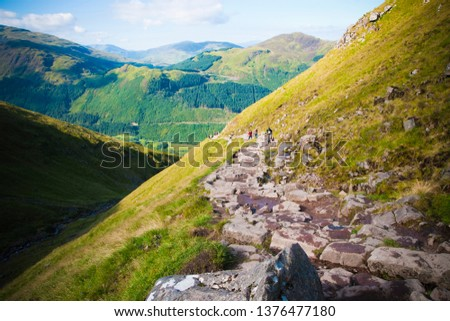 Stony path of ascent to Mount Ben Nevis, highest peak in the United Kingdom. #1376477180
