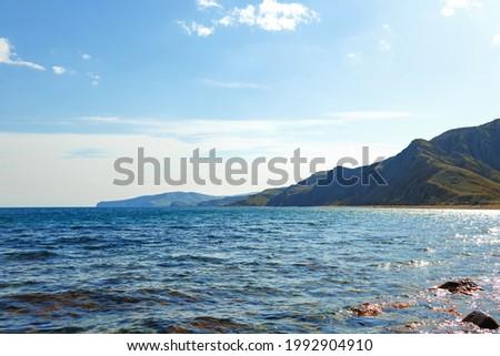 Stony sea shore photo for a background