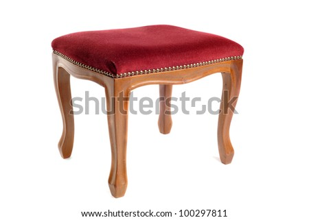 stool in velvet and wood in front of white background