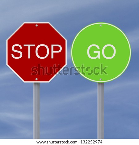 Stop and Go signs against a blue sky background
