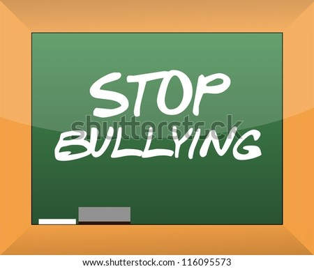 stop bullying text written on a blackboard illustration design