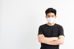 Stop Covid-19 , Asian man wearing Face Mask protect spread Covid-19 Coronavirus on white background
