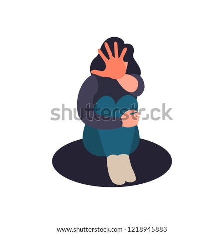 Stop domestic abuse. Women violence and abuse concept. Social issues, abuse and aggression on women. Cartoon illustration on flat style.