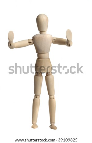 Stop, don`t do it....A wooden Mannequin