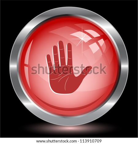 Stop hand. Internet button. Raster illustration.