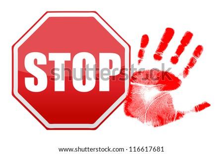 stop handprint illustration design over white background - stock photo