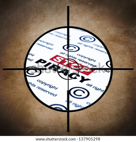 Stop piracy target - stock photo