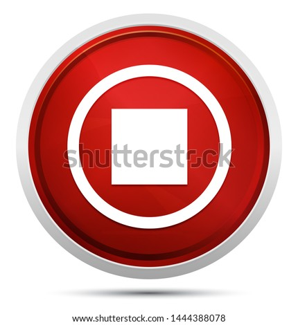 Stop play icon isolated on Promo Red Round Button #1444388078