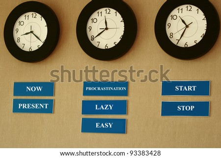 Stop procrastinating concept with world time abstract. - stock photo