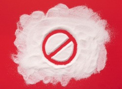 Stop prohibition sign on sugar. Diet and weight loss, refusal of sweet. Diabetes problems, harm from eating, dependence on flavoring. Challenge.
