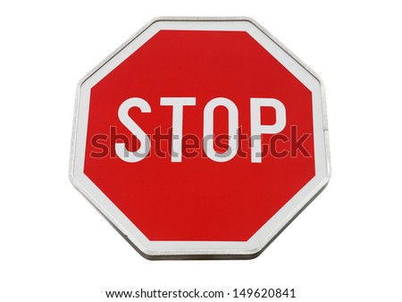 Stop road sign isolated on white