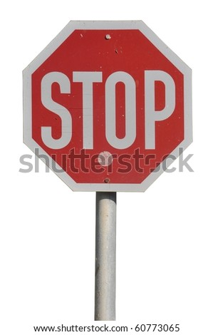 stop road sign isolated on white background